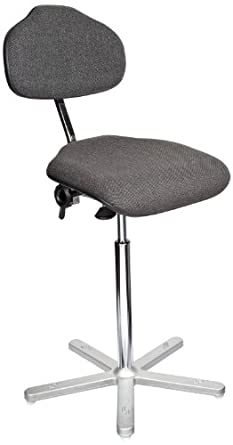 "Milagon Neutra WS1611-G Gray Workseat on Cast Aluminum 5 Star Base Electrostatic Chair with Conductive Glides, High Profile, 24""-34"" Adjustment Height"