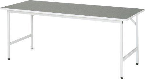 RAU-Arbeitstisch-hhenverstellbar-800-850-mm-Linoleum-Platte-BxT-2000-x-800-mm-Untergestell-30-x-30-mm-lichtgrau-Arbeitsplatz-Arbeitstisch-Tisch-Werkbank-Werkstattisch-Werkstattische-Werktisch
