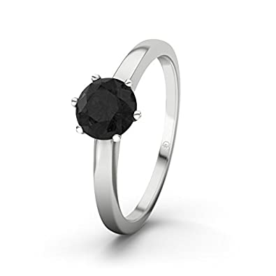 21DIAMONDS Women's Ring South Africa Black Round Brilliant Cut Diamond Engagement Ring - Silver Engagement Ring