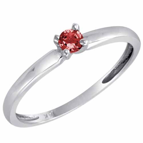 DivaDiamonds Sterling Silver Round Solitaire Garnet Ring (0.25 ctw) - Size L 1/2