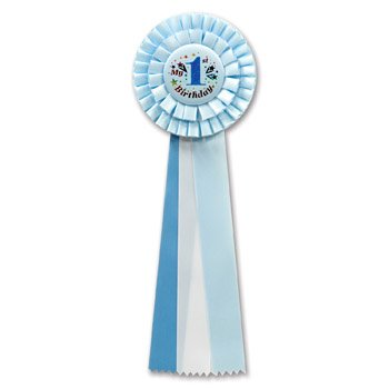 Beistle RD21 My 1st Birthday Deluxe Rosette, 4-1/2 by 13-1/2-Inch, Blue