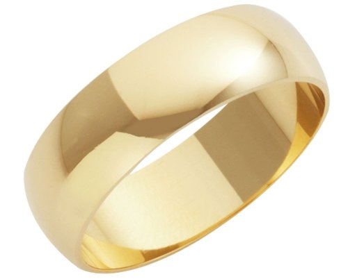 Wedding Ring, 9 Carat Yellow Gold Heavy D Shape, 7mm Band Width
