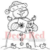 Deep Red Stamps Snowman Caroling Rubber Stamp