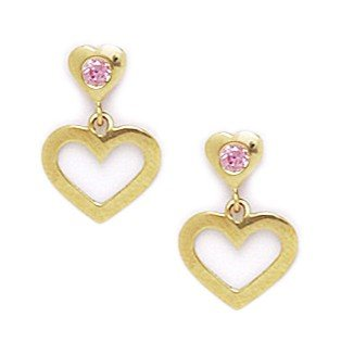 14ct Yellow Gold Pink CZ Heart Screwback Earrings - Measures 14x10mm