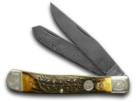 Boker Tree Brand Genuine Deer Stag Damascus 1/50 Trapper Pocket Knife Knives