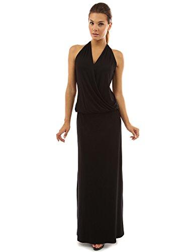 PattyBoutik Women's Halter Faux Wrap Blouson Maxi Dress (Black S)