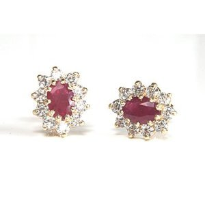 9ct Gold Ruby and CZ Stud earrings