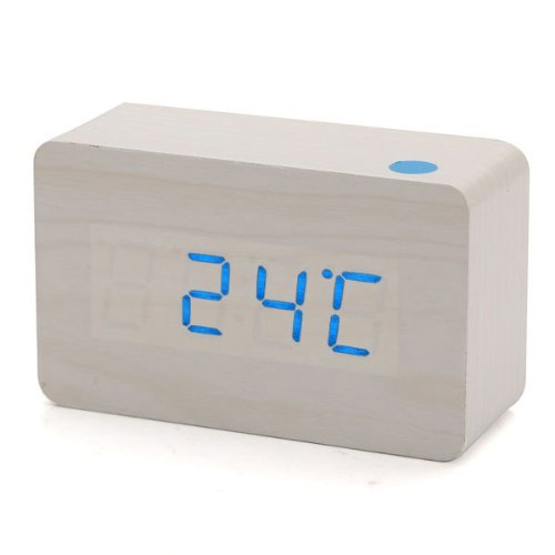 KABB Rectangular Wooden Clock Alarm Blue LED Office desk Wood Digital with Temperature Voice and Touch Activated