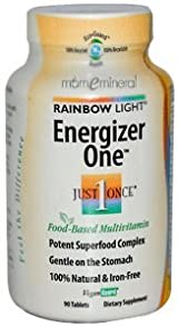 Just Once, Energizer One, Food-Based Multivitamin, Iron-Free, 90 Tablets by Rainbow Light