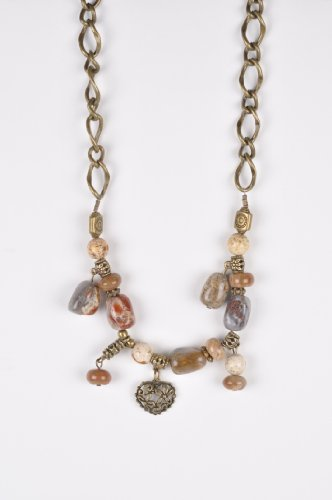Natural Stone with Old Gold Beaded Necklace Handmade in Africa by Me'Lani