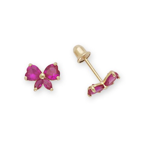 Bow Stud Baby Earrings 14k Yellow Gold