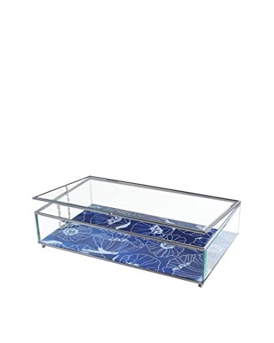 American Atelier Poppies Glass Display Box, Blue