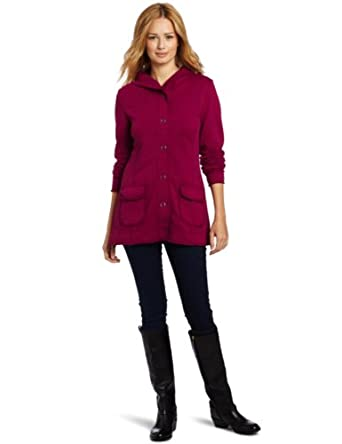 Mod-O-Doc Women's Slub French Terry Snap Front Jacket, Berry, X-Large