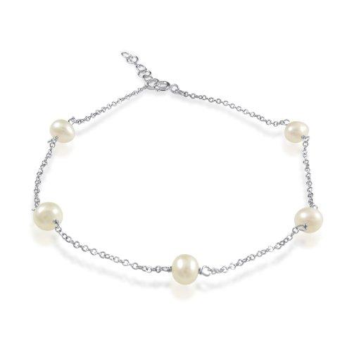 Tin Cup Freshwater Pearl Sterling Silver Anklet Bracelet 10