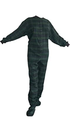Navy/green Plaid (Black Watch) Flannel Adult Footed Pajamas w/ Drop Seat (XS)