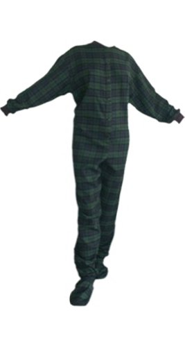 Navy/Green Plaid (Black Watch) Flannel Adult Footed Pajamas No Drop Seat (M) front-997820