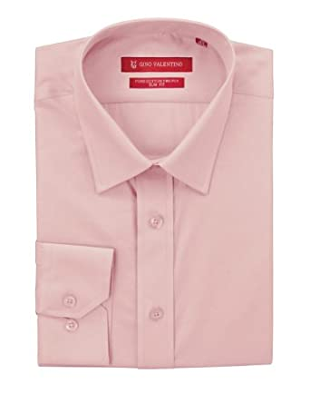 "Gino Valentino Men's Dress Shirt Slim Fit Pure Cotton Barrel Cuff (15"" Neck 33 Sleeve, Light Pink)"