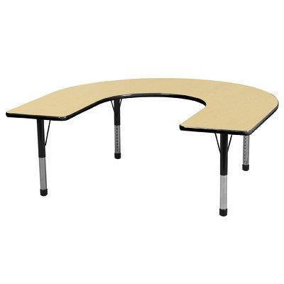 "Ecr4Kids 60"" X 66"" Preschool Daycare Kids Adjustable Play Activity Table Horseshoe front-1011380"