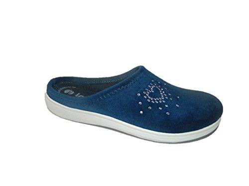 INBLU BS-27 ciabatte pantofole donna colore blu panno comode leggere (39)
