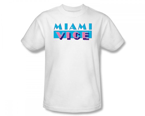 Miami Vice Logo Slim Fit Adult T-Shirt In White - S to XXL