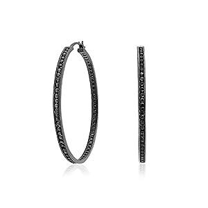 Bling Jewelry Simulated Onyx CZ 925 Silver Black Eternity Hoop Earrings