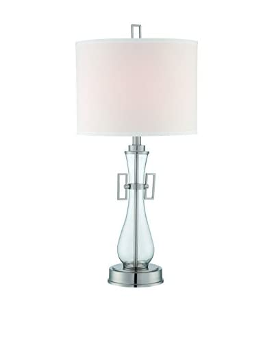 Lite Source Dyani 1-Light Table Lamp, Polished Steel/Clear/Off-White