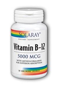 Solaray B-12 Lozenge Supplement, 5000 Mcg, 30 Count