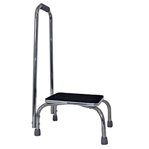 Duro-Med Foot Stool with Support Handle, Silver/Black