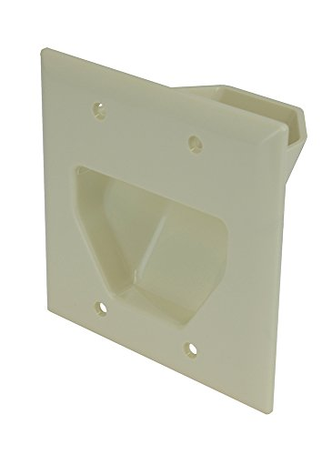 DataComm Electronics 45-0002-LA 2-Gang Recessed Low Voltage Cable Plate, Lite Almond