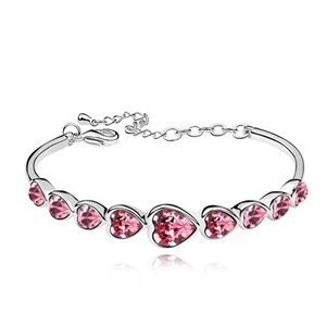Nicedeco - Elegance Ornament Red Shiny Heart. Fashion Ornament 18k White Gold Plated Alloy Bangle Bracelet with Heart Shaped Austria Swarovski Elements Crystal.size:5.5*4.7cm. Swarovski Bracelet by Nicedeco