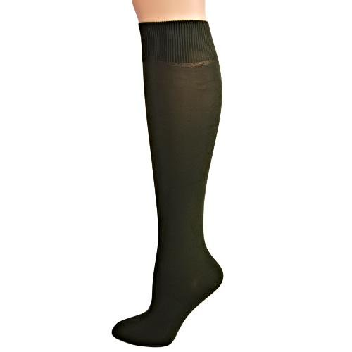 Deep Olive Green Flat Knit Soft Knee High Socks