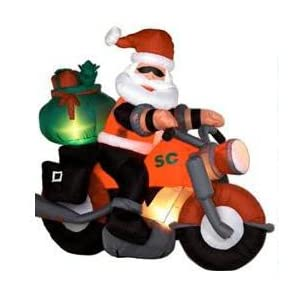 Airblown Inflatable Santa on a Motorcycle