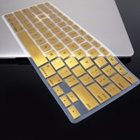 """Topcase Metallic Keyboard Silicone Cover Skin For Macbook Air 13"""" A1369 From Late 2010 - Mid 2011(July) With Topcase Logo Mouse Pad (Gold)"""
