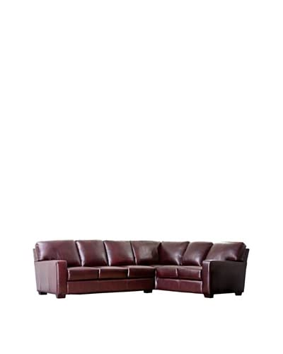 Abbyson Living Vana Premium Hand Rubbed Leather Sectional Sofa, Brown
