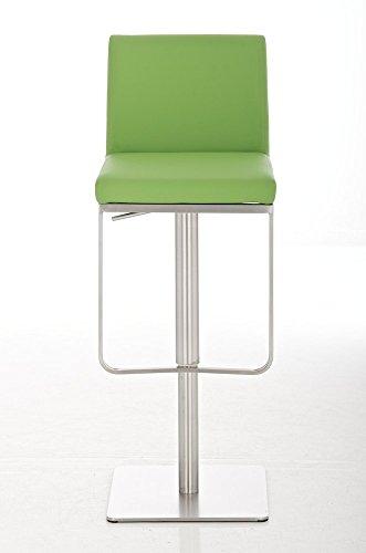 CLP Edelstahl Barhocker PANAMA, aus bis zu 9 Polsterfarben wählen, Sitzhöhe 58 - 82 cm, drehbar, mit Fußstütze grün
