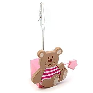 Detalles Infantiles - Pinza para tarjetas osito rosa bautizo de La Lluna en BebeHogar.com