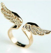 BUYINHOUSE Gloden Wings Ring with Inlaid Shining Rhinestones,Ideal Gift for the Sports Fans