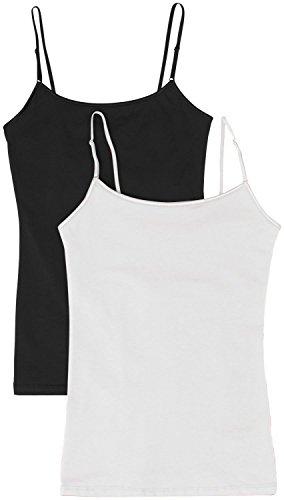 Women's Camisole Built-in Shelf Bra Adjustable Spaghetti Straps Tank Top 2pk Black / White Medium