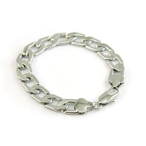 Mens White Gold Plated Link Curb Designer Bracelet with PreciousBags Dust Bag by PreciousYou