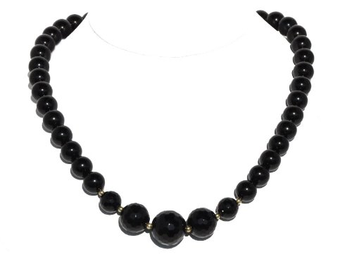 Black Onyx Beaded Necklace in 14K Yellow Gold, 18