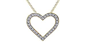 Natural Diamond Heart Pendant in 10K Solid Yellow Gold (1/4 cttw)