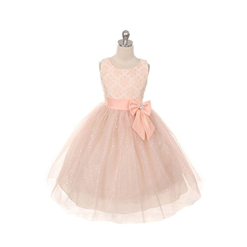 Rain Kids Peach Lace Bow Sash Sparkly Tulle Flower Girl Dress 14 front-417432