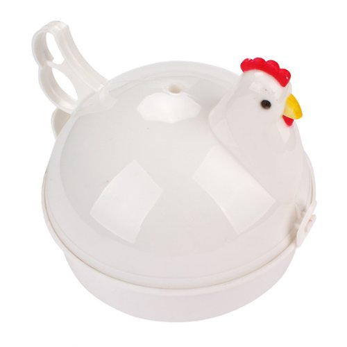 Durable Cut Kitchen Tool Chicken Shaped Plastic Microwave Egg Boiler For 4 Eggs