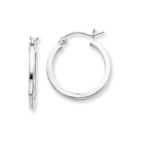 2mm, Silver, Polished Square Hoops - 30mm (1-1/8