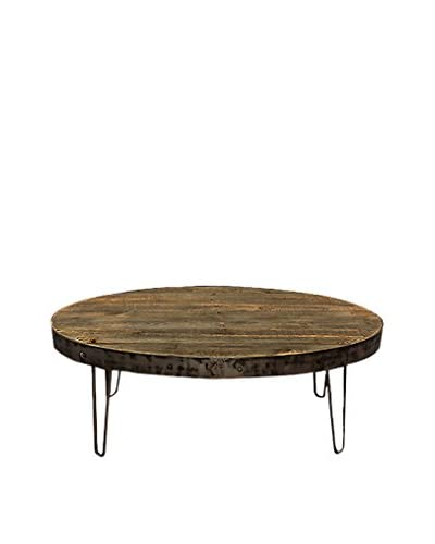 Bambeco Reclaimed Wood Industrial Oval Coffee Table, Natural