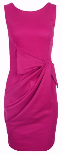 Womens Ladies New Drape Bow Pleated Shift Dress