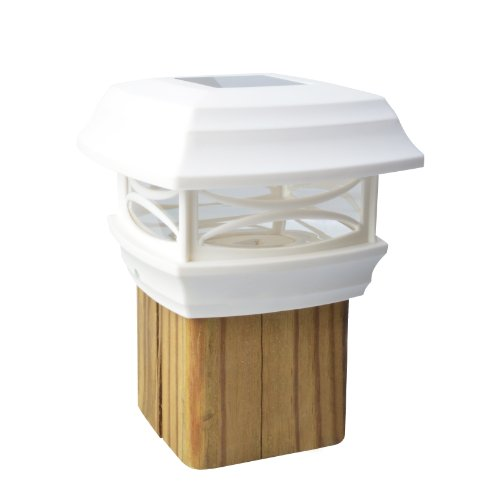 Moonrays 91254 Solar-Powered Post Cap LED Light for 4 by 4 Posts, White