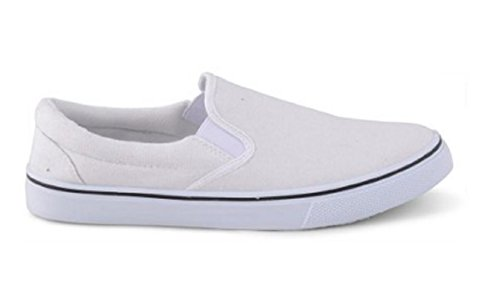 White Canvas Slip On Casual Plimsolls Loafers for Miami Vice Costume