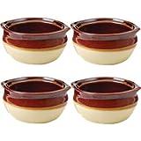 Porcelain Ceramic Onion Soup Crock Bowl, 10 Ounce, Set of 4, Brown and Beige