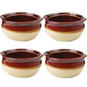 Porcelain Ceramic Onion Soup Crock Bowl, Small 10 Ounce, Set of 4, Brown and Beige (Oven Safe Small Bowls compare prices)
